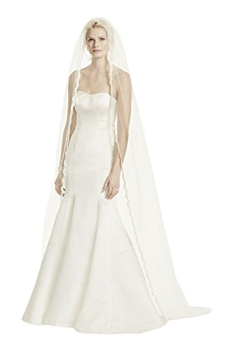 Single Tier Cathedral Veil with Lace Edging Style V514, Ivory by David's Bridal