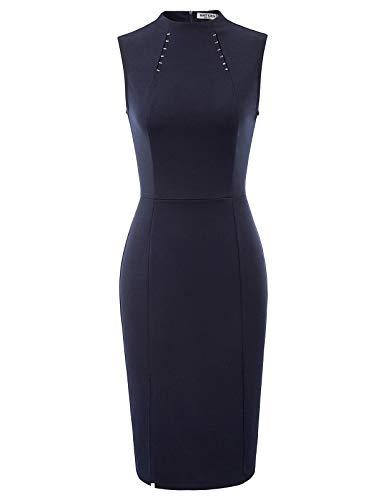 Metal Sleeveless Dress - GRACE KARIN Women Mock Neck Sleeveless Formal Party Bodycon Pencil Dresses Navy XL