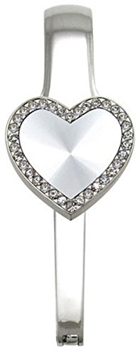Bling Around Silver Heart Everything Purse Hanger Handbag Hook Retractable Folding - New Folding Handbag Purse
