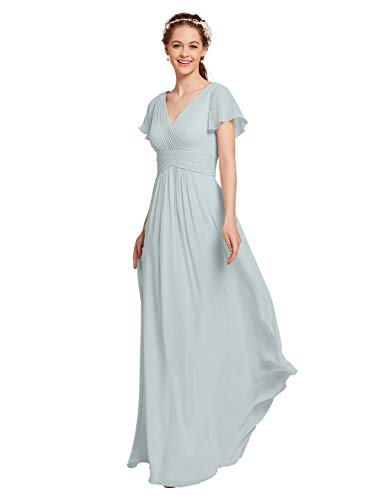 Dresses Modest Bridal (AW Chiffon Bridesmaid Dress with Sleeves V-Neck Wedding Maxi Evening Party Dress Long Plus Size Prom Gowns, Light Sky, US18)