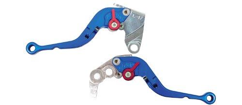 (Yana Shiki LS17LCF-BLU/RS18LBF-BLU Blue Short Folding Adjustable Brake/Clutch Lever Set with Silver Knuckles for Kawasaki ZX-6R/RR)