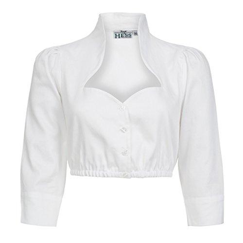 Dirndlbluse Nené mit Stehkragen in Weiß von Hess, Größe:40;Farbe:Weiß