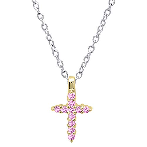 Dazzlingrock Collection 10K Round Pink Sapphire Ladies Cross Pendant (Silver Chain Included), Yellow Gold