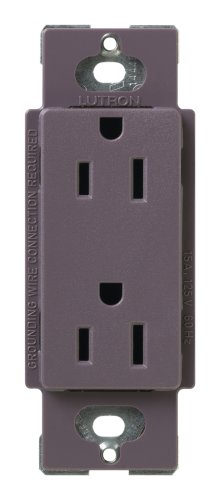 Lutron SCR-15-PL Satin Colors 15A Electrical Socket Duplex Receptacle, Plum ()