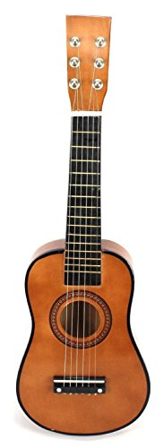 Acoustic Classic Rock 'N' Roll 6 Stringed Toy Guitar Musical Instrument w/Guitar Pick, Extra Guitar String (Brown) by Velocity Toys