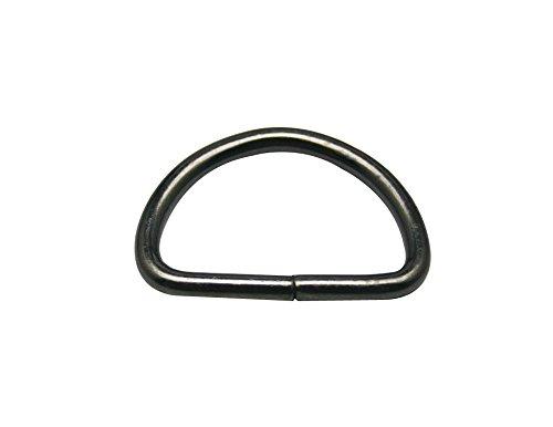 """Generic Metal Gun Black D Ring Buckle 1"""" Inside Diameter Loop Ring for Strap Keeper Pack of 30"""