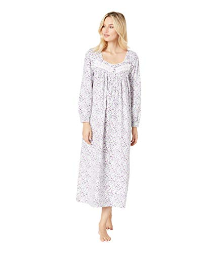 Eileen West Women's Flannel Ballet Nightgown White/Lilac Multi Ditsy Large