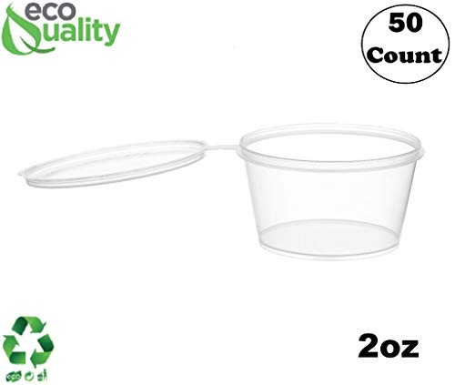 EcoQuality [50 Pack] 2 Oz Leak Proof Plastic Condiment Souffle Containers with Attached Lids - Portion Cup with Hinged Lid Perfect for Sauces, Samples, Slime, Jello Shot, Food Storage & - Oz Portion Container 2