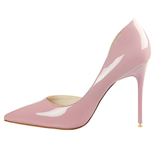 HooH Women's Sexy Pointed Toe D'Orsay Stiletto Dress Pump Pink TSc7S3Eo2