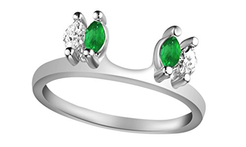 Jewel Zone US White Natural Diamond & Simulated Green Emerald Enhancer Guard Wrap Wedding Ring in 14k White Gold Over Sterling Silver (1/6 Ct)