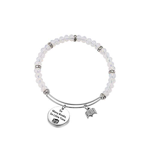 FEELMEM Book Lover Gifts Love Books Bracelet So Many Books So Little Time Reading Bangle Literary Jewelry Writers Author Student Librarian Gift (BC-02)