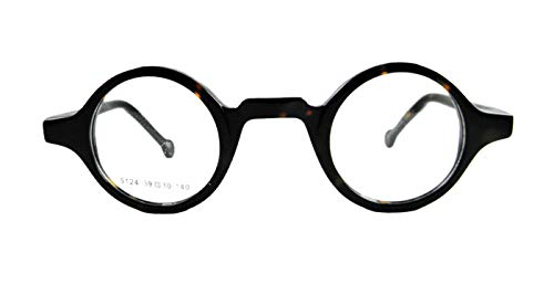 - Circleperson Men Women Eyeglass frames Optical spring hinges small round (Dark tortoise, Clear/W print)