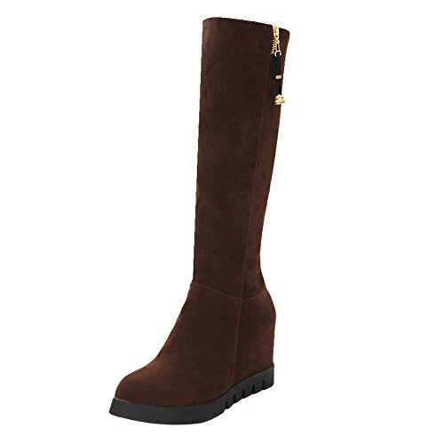 Carolbar Womens Zip Fashion Retro Platform Wedge Heel Casual Tall Boots Brown AzYo0