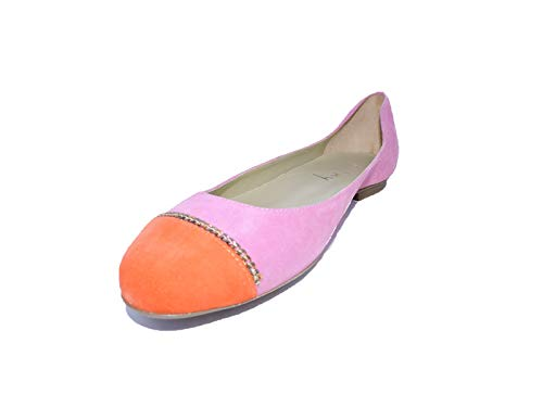 Sole French Suede Flats (FS/NY French Sole Women Function Suede Pink Orange Suede Ballet Flats 8 M US)