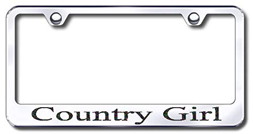 Aluminum Country Girl Design License Plate Frame with Swarovski Crystal Bling Diamond (Silver License Plate, Black Crystals) -  Simply Infinite Productions