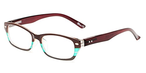 Readers.com The Periwinkle +1.00 Brown with Green/Grey Stripe Small Striped Cat Eye Reading - Reading Petite Glasses