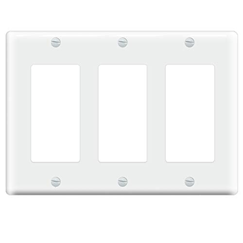 Eoce 3 Gang Decorator/GFCI Device Wallplate Light Switch Cover, Standard Size Switch Plate/Wall Plate Cover, White