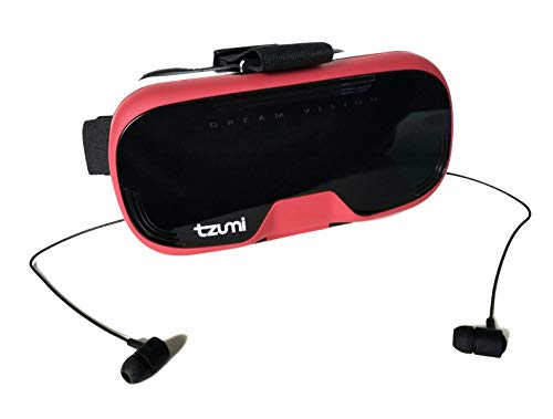 Tzumi Dream Vision Virtual Reality Smartphone Headset, Retracteable Built-in Ear Buds,fits all phones up to 6 inch, 360 Video Capability, Lightweight with high durability, Works with all VR apps. Red]()
