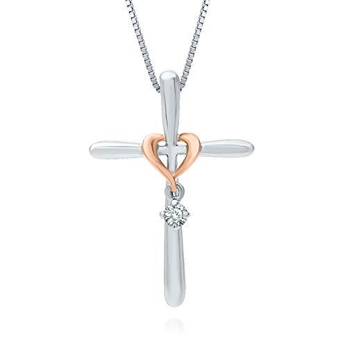 Venetian 10k Gold Box Necklace (Helzberg Diamonds Sterling Silver & 10K Rose GoldDiamond (I-J Color, I2-I3 Clarity) Cross Pendant, 18