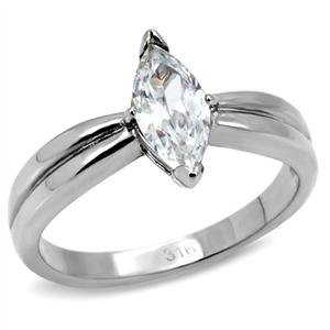 Mai Jewelry Stainless Steel CZ Marquise Shape Solitaire Engagement Ring ()