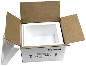 "Medium Foam Cooler Mailer, Insulated Shipper, 9 Quarts, 10.5"" x 8.5"" x 6.25"", 1.5"" Wall Thickness - (Case of 4)"