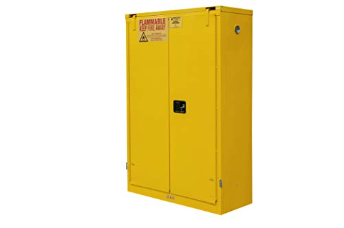 Durham FM Approved 1045S-50 Welded 16 Gauge Steel Flammable Safety Self Closing Door Cabinet, 2 Shelves, 45 gallons Capacity, 18