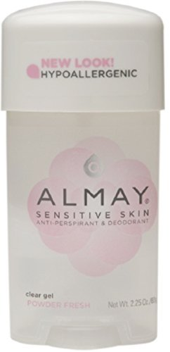 Almay Sensitive Skin Clear Gel Antiperspirant & Deodorant, Powder Fresh 2.25 oz (Pack of 3)