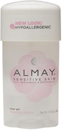 Almay Sensitive Skin Clear Gel Antiperspirant & Deodorant, Powder Fresh 2.25 oz (Pack of 3)