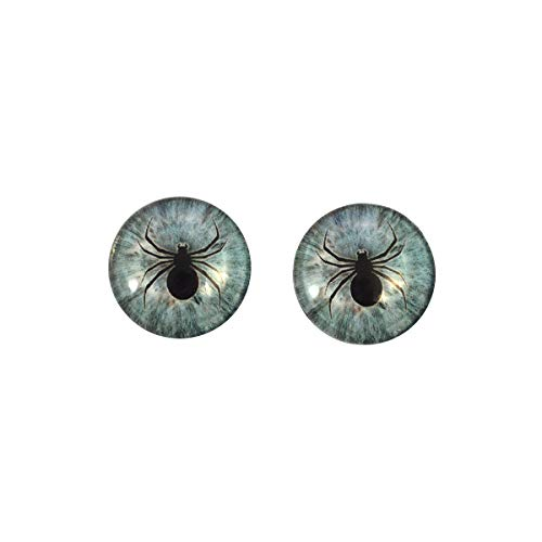 Pale Blue Spider Glass Eyes Horror Art Dolls Taxidermy Sculptures or Jewelry Making Cabochons Crafts Matching Set of 2 (6mm) -