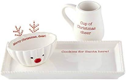 Mud Pie Milk and Cookie Set White Tray 4 3/4 x 10 | Pitcher 3 1/4 x 3 1/2 | Bowl