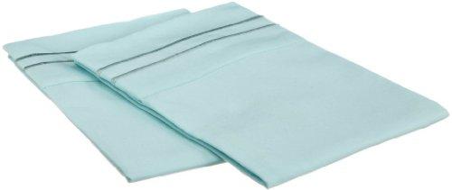 Clara Clark ® Supreme 1500 Collection Pillowcase Set - King Size, Light Blue Aqua