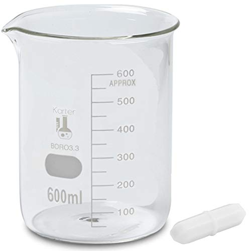 600ml Beaker with Magnetic Stir Bar, Low Form Griffin, Borosilicate 3.3 Glass, Graduated, Karter Scientific 247M2 (Pack of 6)