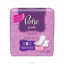 Poise® Moderate Pads-Absorbency Moderate Plus Length 10.9