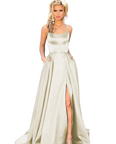 YMSHA Women's Spaghetti Straps Prom Dress with high Split Long Party Gown Ivory 02