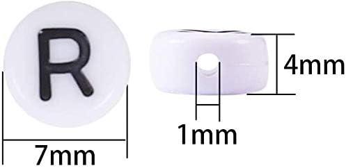 Abalorios Letras,Cuentas de Letras 500 PCS Pl/ástico Abalorios Alfabeto de la A a la Z Acr/ílico Abalorios para Hacer Joyas Manualidades Bricolaje Brazaletes Collar Blanco y Negro 7*4 mm