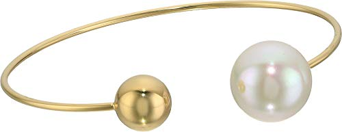 Majorica 14 mm White Round Pearl and Gold Bead On A Gold Plated Titanium Bracelet