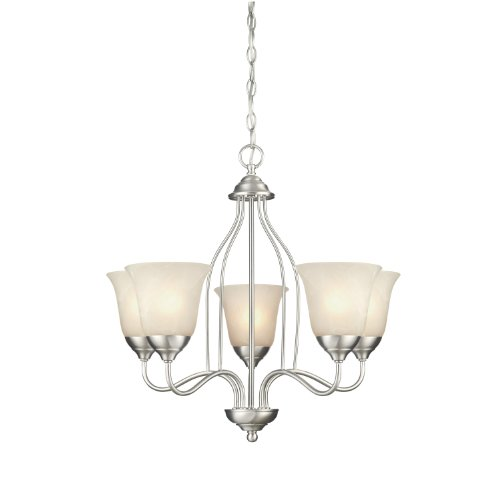 Westinghouse Chandelier Satin - Westinghouse 6226800 Clinton Five-Light Interior Chandelier, Satin Nickel Finish with White Alabaster Glass