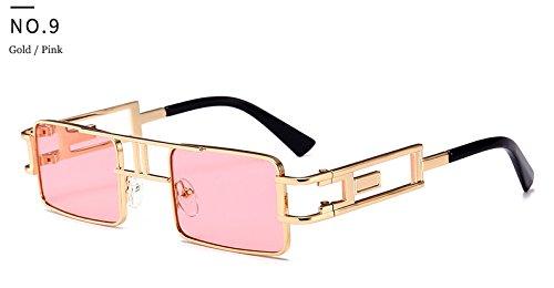 marca Protecci¨®n hombres de dise metal luneta Hykis del ador la marco sol De de con punk manera de la del vapor rosa Gafas Soleil sol UV Cuadrado vendimia TqwO6f