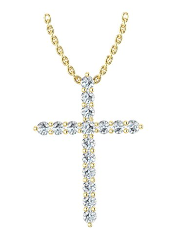 14k Yellow Gold archetypical cross pendant set with 16 glistening round white diamonds (1/2ct t.w, H-I Color, I1 Clarity), suspended on a 18