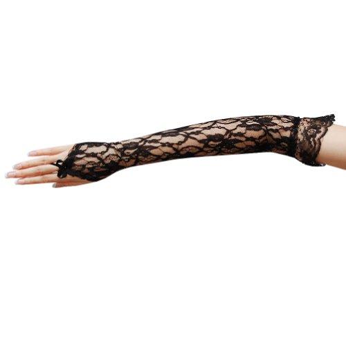 (ZaZa Bridal Flower Pattern Fingerless Lace Gloves with Elastic Ruffle Trim-Black)