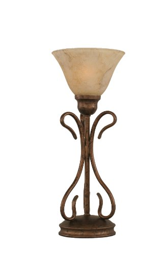 Shade Glass Marble (Toltec Lighting 31-BRZ-508 Swan One-Light Table Lamp Bronze Finish with Italian Marble Glass Shade, 7-Inch)