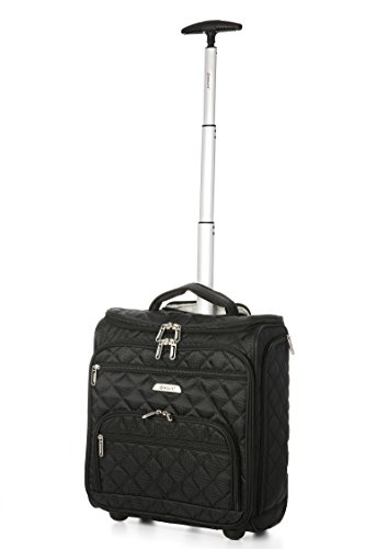 Aerolite - Aerolite Carry On Under Seat Wheeled Trolley Luggage Bag (Black)