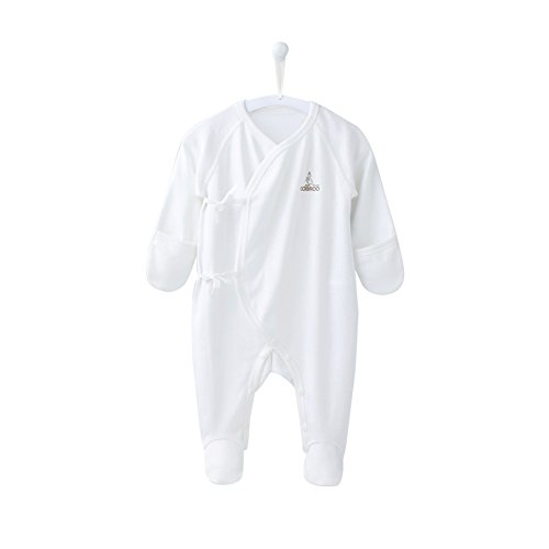 COBROO Baby Girl Boy Romper Cotton Onesies with Snap Button Coverall Romper Mitten Cuffs Infant Newborn Bodysuit with Footies