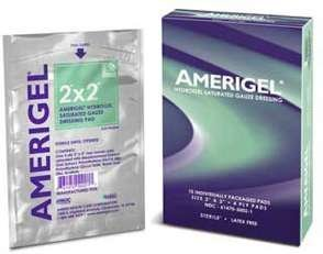 Amerx AmeriGel Hydrogel Saturated Gauze Dressing Clinical Pack of Ten Foil packets (Saturated Dressing Gauze)