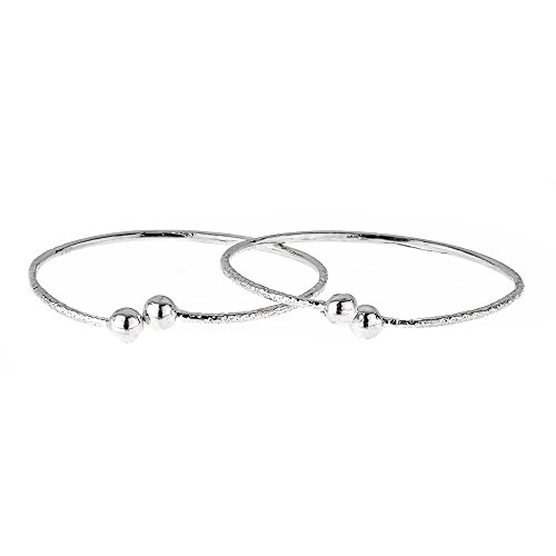 - Ball Ends .925 Sterling Silver West Indian BABY Bangles 6.2 Grams (Pair) (MADE IN USA)