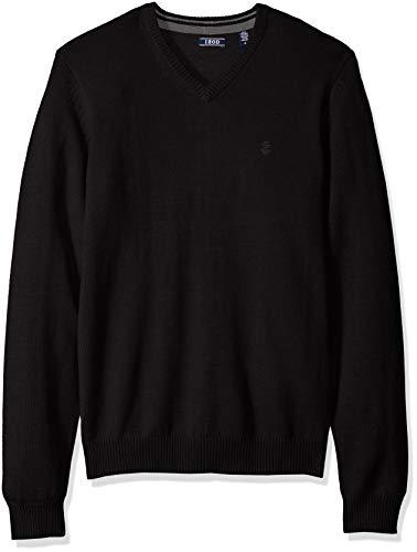 Jersey Stitch V-neck Pullover - IZOD Men's Fine Gauge Solid V-Neck Sweater, Dark Black, X-Large