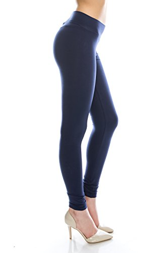 Cotton Spandex Basic Knit Jersey Regular and Plus Size Full womens exercise leggings Navy M