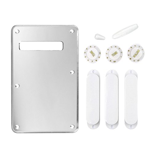 FLEOR ST Strat Style Guitar Back Plate Trem Cover 1Ply Silver Mirror w/White Color: 3 Closed Pickup Covers, 2 Tone & 1 Volume Knobs, 1 Switch Tip and 1 Bar ()