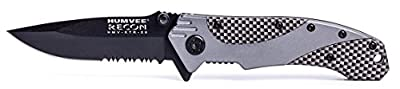 Humvee HMV-KTR-06 Recon 6 Folding Knife with Partially Serrated Stainless Steel Blade and Metal Pocket Clip, Black and Silver