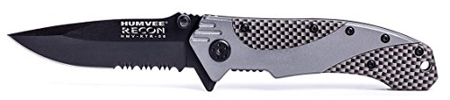 Humvee HMV-KTR-06 Recon 6 Folding Knife with Partially Serrated Stainless Steel Blade and Metal Pocket Clip, Black and (Partially Serrated Single)